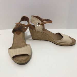 Lucky Brand Woven Cream Espadrilles Leather Straps
